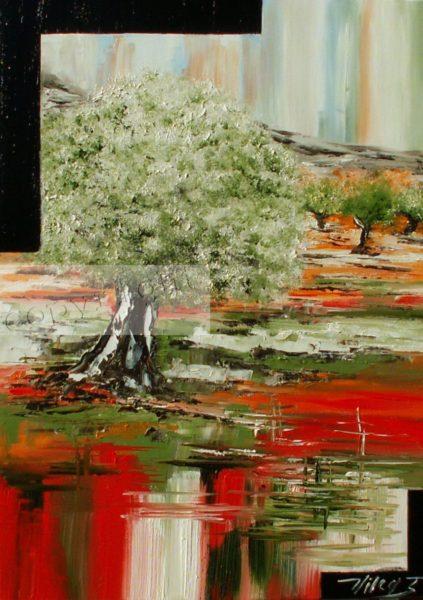 Paysage d'arbres sur fond de couleur rouge et vert