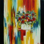 Bouquet de fleurs sur fond coloré