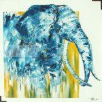 Bleu savane Huile sur toile 100x100 cm