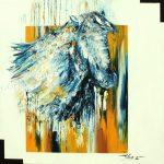 Cheval blancHuile sur toile90x90 cm