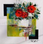 Bouquet de fleur sur vase carre