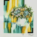 Bouquet fleurs bleu vert turquoise