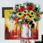 Bouquet de fleurs jaunes et rouges
