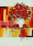Bouquet de fleurs rouges sur fond rouge et jaune or eclatant