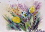 Aquarelle tulipes jaunes et marguerite