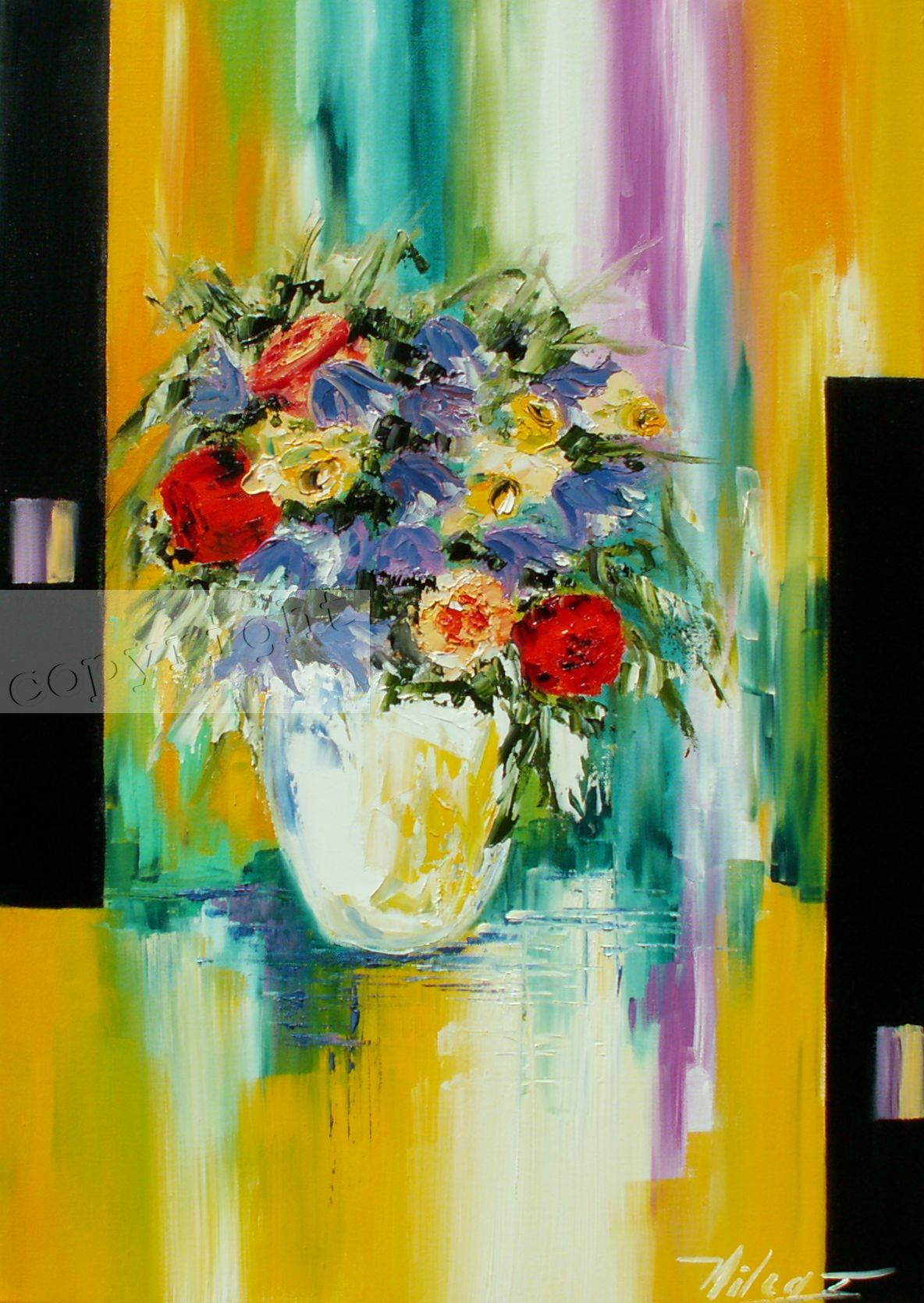 Bouquet radieuxHuile sur toile50x70 cmCopyright Vilcaz