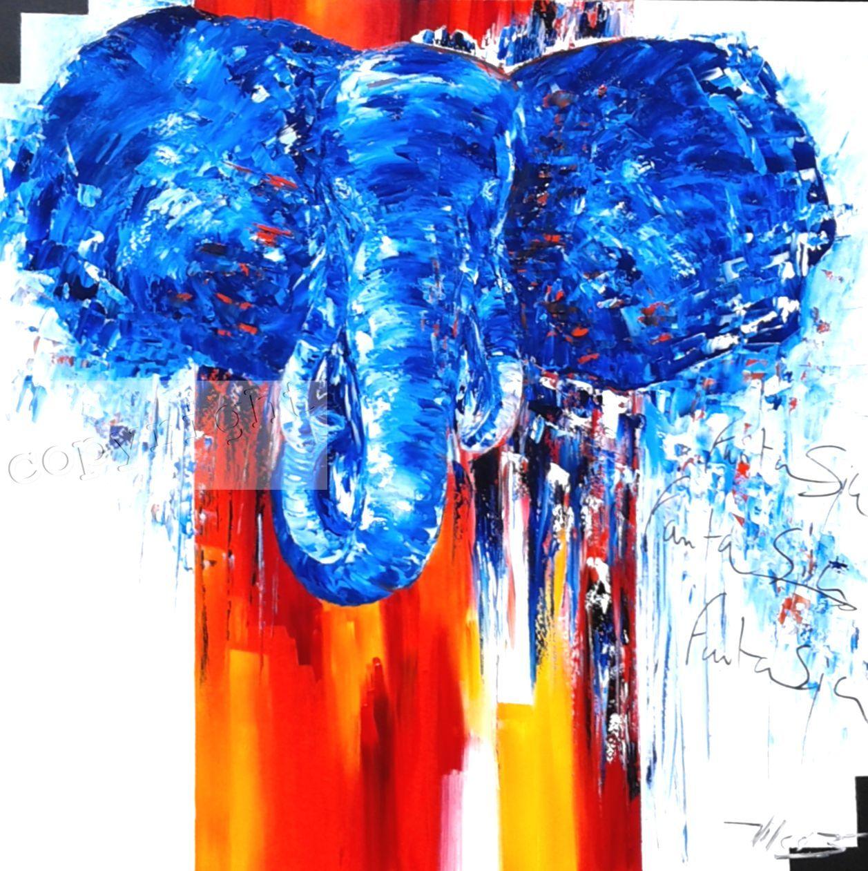 ElephantasyHuile sur toile90 x 90 cmCopyright Vilcaz