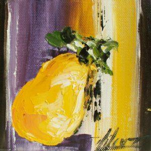 Poire dorée Huile sur carton entoilé de l'artiste Corinne Vilcaz