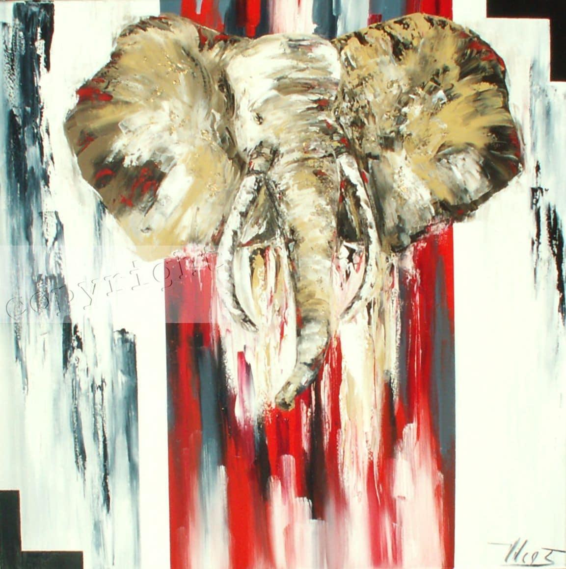 Elephantushuile sur toile100x100 cm