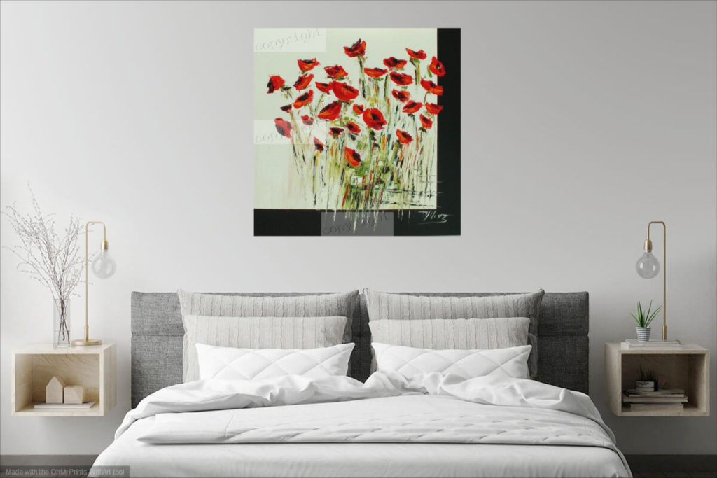 Black and white poppies. Huile sur toile. 80 x 80 cm