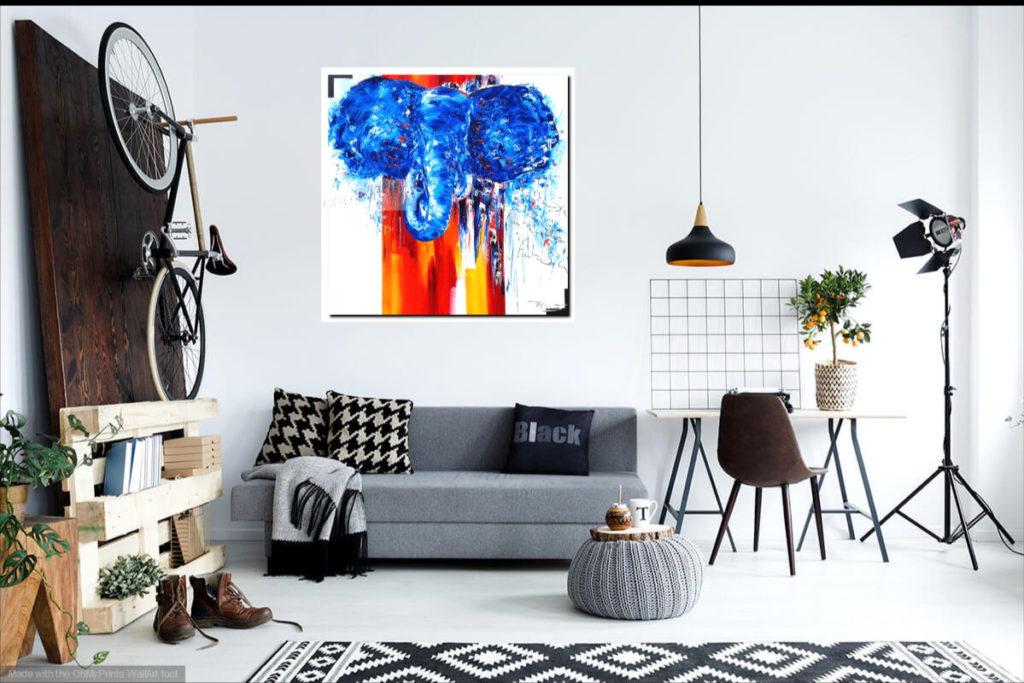 Elephantasy. Huile sur toile. 90 x 90 cm