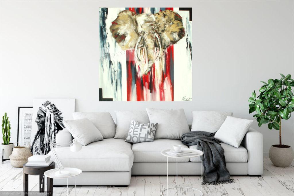 Elephantus. Huile sur toile. 100 x 100 cm