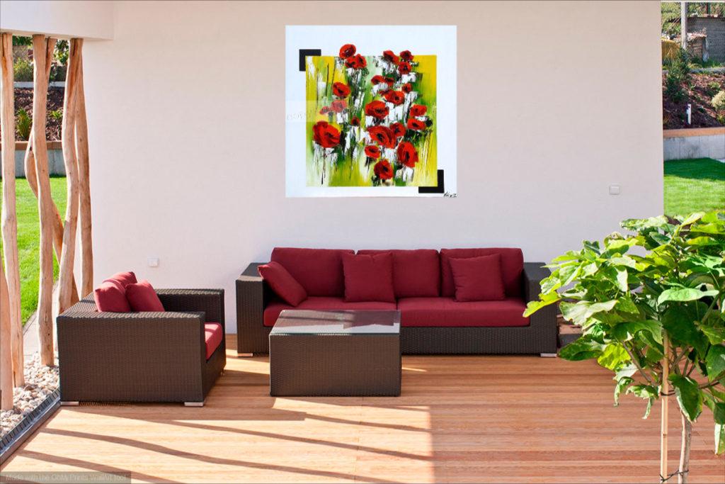 Evasion champêtre. Huile sur toile. 80 x 80 cm