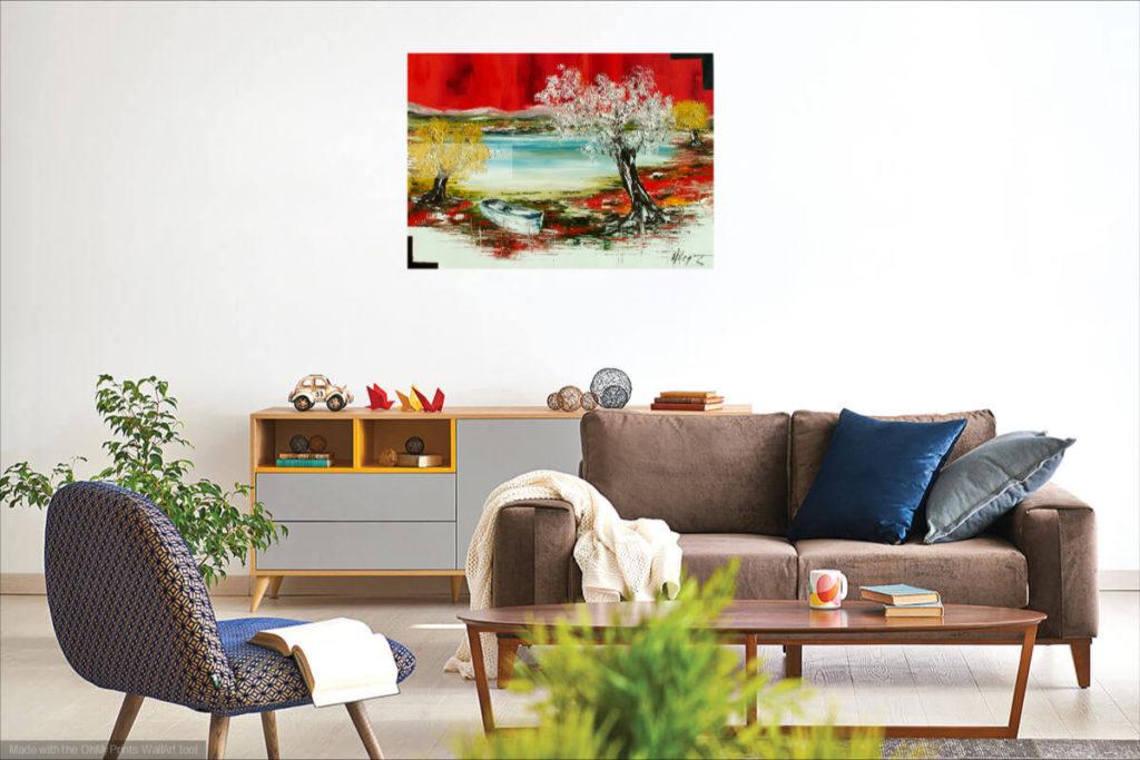 Le lac. Huile sur toile. 50 x 70 cm